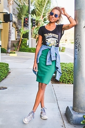 Michelle G. - Forever 21 Shades, True Religion Shirt, H&M Denim Shirt, Forever 21 Skirt, Converse Sneakers - Local love