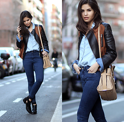 Adriana Gastélum - 3.1 Phillip Lim Biker Jacket, Coach Swagger Bag - In leather jackets I trust