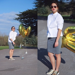 Stephanie So - Zara White Boxy Shirt, Asos Grey Bodycon Skirt, Zara Gold Pointed Toe Shoes, Quay Invader Sunnies - | 18th |