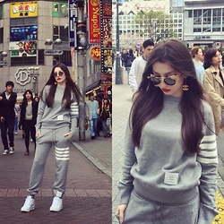 Lil Alina - Thom Browne Sweatshirt, Thom Browne Sweatpants, Thom Browne Sunglasses, Nike Sneakers, Chanel Earrings - Thom Browne kind of day