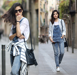 Adriana Gastélum - Sheinside Denim Overalls, Karen Walker Sunnies, Stradivarius Bucket Bag, Sheinside Striped Blazer, Daniel Wellington Watch - Why you should never say never