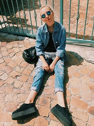 Sabrina Scott - Gap Denim Jacket, Topshop Black Bucket Bag, Topshop Fringe Vest, Topshop Boyfriend Jeans, E Bay Creepers - 90's BABES