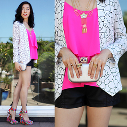 Sherry Lou - Sherry Lou Studio Hot Pink Tiered Top, Sherry Lou Studio Crackle Blazer, Forever 21 Floral Wedges - Hot Pink Tiers