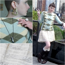 Ash Stash - Free People Argyle Sweater, Handmade Heart Plugs, Handmade Crystal Ring, Handmade Crystal Ring, Panache Lace Skirt, Secondhand // Thrifted Leather Boots - Earth Day Awareness