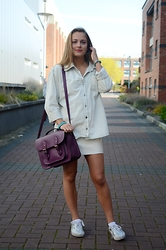 Madeleine Schlosser - Brandy Melville Usa Denim Button Up, Vans Silver Sneakers, Topshop White Leather Skirt, Purple Purse - Spring Style