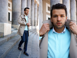 Marc Galobardes - Zara Trench Coat, Zara Sweater, Forever 21 Jeans - PASTEL BLUE