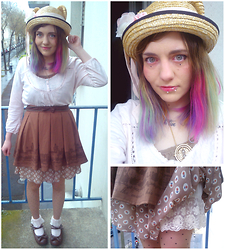 Nina Andrew P - H&M Pink Shirt, Ebay Brown Skirt, Bodyline Brown Shoes, Flower Dress - It's spring !