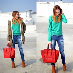 Iva S. - S. Oliver Sweater, Mango Parka, Zara Ripped Jeans, Bershka Ankle Boots - Roof shooting
