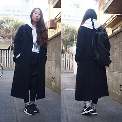 Yu Kuwabara - G.V.G.V. Wool Maxi Coat, Elvira Half Zip Hoody, Dholic Black Skinny Jeans, Nike Lunar Internationalist, Lorinza Backpack - Like A Boy