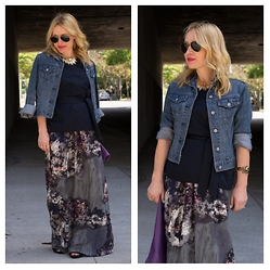 Zia Domic - Ann Taylor Shell Top, Paper Denim & Cloth Jean Jacket, Piperlime Collection Maxi Skirt - Division