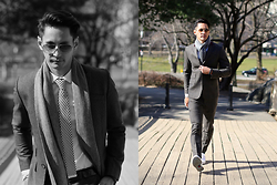 The Filo Dapper - Joey Samson Suit, Ray Ban Sunglasses, Topman Shirt, 21 Men Knitted Tie, H&M Scarf, Converse Sneakers - Dapper in Central Park