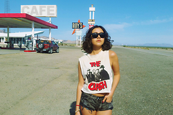 Tatiana M - One Teaspoon Bandit Shorts, Thrift Vintage The Clash Concert T, Ray Ban Black Wayfarer - Bat Country