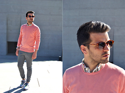 Marc Galobardes - United Colors Of Benetton Sweater, Forever 21 Trousers, Adidas Flux Sneakers - CORAL PINK #ADIDASFLUX