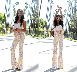 Tiffany Borland - Missguided Brown Sandals, Missguided Suede Fringe Top, Missguided Tile Print Pants, Cat Eye Sunglasses - Round two.