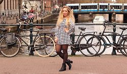 Lilia - Ax Paris Grid Playsuit, Alexander Wang Gabi Booties With Rose Gold - Canals of Amsterdam