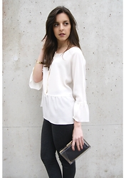 LAURA JANE G - Valleygirl See Through Clutch, Zara Leggings, H&M Bracelet - White blouse