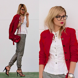 Cosmina M. //mbcos.net - Mango Black Heels, Suite Blanco Trousers, Mango Red Mini Bag, Diesel Red Casual Jacket, H&M White Shirt - 19/04