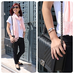 Alice Lim - H&M Top, Bebe Jeans, Salvatore Ferragamo Shoes, Chanel Bag, Cartier Bangles - Pop of color