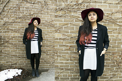 Maha Hawk - Ebay Burgundy Floppy Hat, Jones Newyork Black Coat, H&M Gold Necklace, Sirens Striped Tee, Forever 21 Grey Neoprene Skirt, Call It Spring Black Booties - Goin' Back to Basics