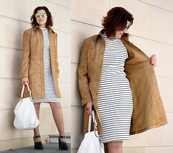 Teresa Leite - Tany Couture Self Made Faux Suede Coat, Zara Striped Tube Dress (Old), Parfois White Boho Bag (Old), Zara Platform Mary Janes (Old) - Self-made 70's Style Suede Coat (new)