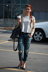 Marta Tryshak - Mackage Leather Jacket, A Fine Line Peplum Top, Citizens Of Humanity Boyfriend Jeans, Marc By Jacobs Flats, 3.1 Phillip Lim Satchel, Thomas Sabo Anklet - Boyfriend Casual