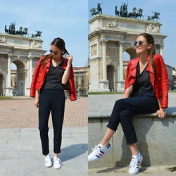 Annebel Vw - Le Ballon Red Leather Jacket, Zara Tailored Trousers, Adidas Superstar Sneakers - Flying Colors