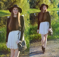 Jennifer M - Tobi Crop Sweater, H&M Boots, Ever New Lace Dress, Bootlegger Hat - Black & White
