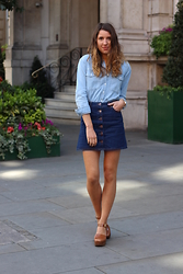 Gemma Talbot - Topshop Shirt, Miss Selfridge Skirt, Topshop Clogs - Double Denim
