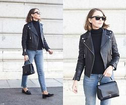 Trini Gonzalez - Ray Ban Sunglasses, Petit Bateau Turtleneck, The Kooples Leather Jacket, Daniel Wellington Watch, Anya Hindmarch Bag, Gap Jeans, Miu Loafers - Winter 2014/2015