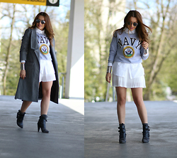 Sandra Bendre - Choies Coat, Choies Booties - Shades of grey