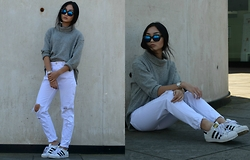 Konstanzia and Atusa Lechler - Pull & Bear Jeans, Adidas Sneakers - GREY & WHITE
