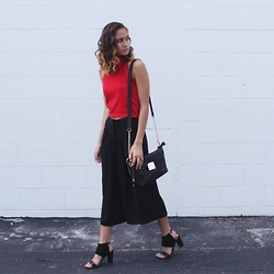 Jasmine M - Forever 21 Halter Top, Culottes, Cuffed Heels, Steve Madden Satchel - Culottes