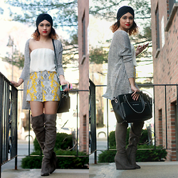 Massiel T. - H&M Cardigan, Nine West Bag, Justfab Boots - The City Gypsy/ www.stylerceptor.net