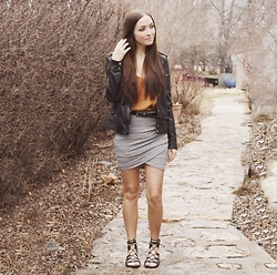 Breanne S. - Forever 21 Strappy Sandals, Garage Criss Cross Skirt, Urban Outfitters Vegan Leather Jacket - Criss Cross