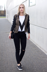 Anita VDH - Subdued Ripped Black Jeans, H&M Black Slip Ons, Ivyrevel White V T Shirt, We Jacket - With a V