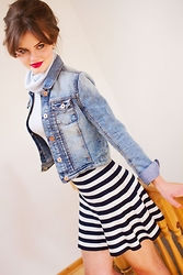 Lily France - Tk Maxx Denim Jacket, Primark Striped Skirt, River Island Turtleneck Cropped Top - Stripy skater