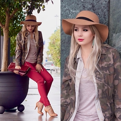 Cosmina M. //mbcos.net - Pimkie Hat, Esprit Blouse, Pull & Bear Pants, Rockport Heels, Pasteesh Green Earrings - 26/04