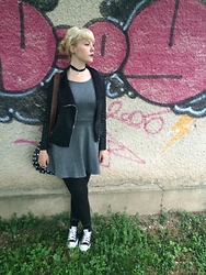 Taja - H&M Dress, Only Fake Leather Jacket, Converse All Star Shoes - Grey