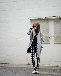 Diana Z Wang - Get It K Cocoon Jacket, Aritzia Ribbed Sweater, Rag & Bone Plaid Pants, Asos Sandals, Prada Sunnies - K-style, anyone?