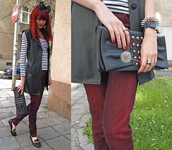Aneliya Krumova - Pepe Jeans Red, Miss Sixty Bow Headband - Stripes & Red Jeans