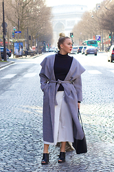 Joanne Christina Lewis - Pretty Little Thing Belted Coat, Lavish Alice White Culottes, New Look Mules - ASYMMETRIC DRAPE CULOTTES