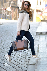 Martina Manolcheva - Choices Jacket, Zara Jeans, Louis Vuitton Bag, Moschino Sunglasses - Faux Fur Studded Jacket