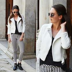 Annebel Vw - Pull And Bear Leather Jacket, H&M Striped Jeans, Bershka Boots - Monochrome stripes