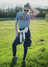 Nelia C - New Look T Shirt, Pull & Bear Blazer, Clarie's Sun Glasses, Pull & Bear Jeans, Nike Shoes - Nirvana