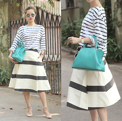 Mayo Wo - Monki Reflective Sunnies, Frontrowshop Sequined Top, Cartier Turquoise Bag, Kate Spade Striped Skirt - Ripe & striped