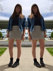 Haalen Agee - Forever 21 Jean Jacket, Old Navy Striped Pencil Skirt, H&M Platform Sneakers - Striped