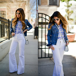 Pam Hetlinger - 7 For All Mankind Trousers, Gap Denim Jacket, Chanel Cat Eye Sunglasses, Equipment Tee - High Waist Trousers