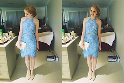 Lisa - Portmans Blue Lace Dress, Betts Cream Heels, Colette Gold Clutch, Topshop Gold Earrings - .lace and cream.