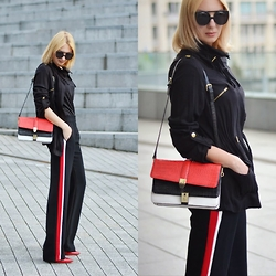 Mis Sis - Ivanka Tramp Heels, Zara Pants, Zara Bag, New Look Parka -  Pants with stripes...