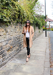 Jade Rose Topper - Zara Leather Joggers, H&M Camel Wool Coat, Strappy Heeled Sandals - Dancing Into Monday
